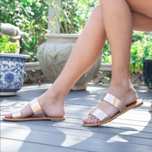 Shoes - Rose gold sandals flat shoes